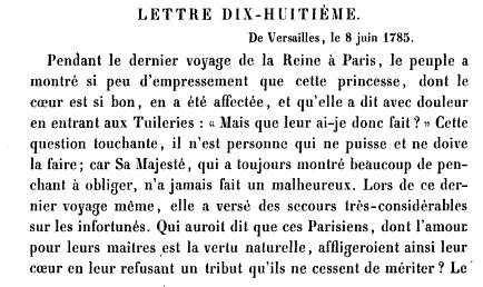 Extrait de la Correspondance secrète du 8 juin 1785 décrivant l'accueil du public lors des Relevailles de la Reine après ses troisièmes couches.