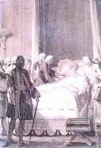 Gravure montrant la mort de Louis XV dans sa chambre de Versailles