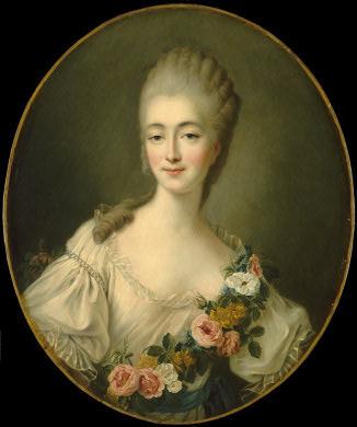 Madame du Barry en buste, robe blanche et guirlande de fleurs par Drouais